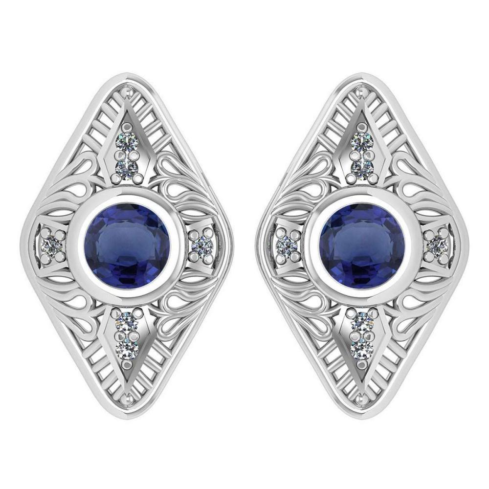 Certified 1.46 Ctw Blue Sapphire And Diamond 14k Yellow Gold Halo Stud Earring #PAPPS16174