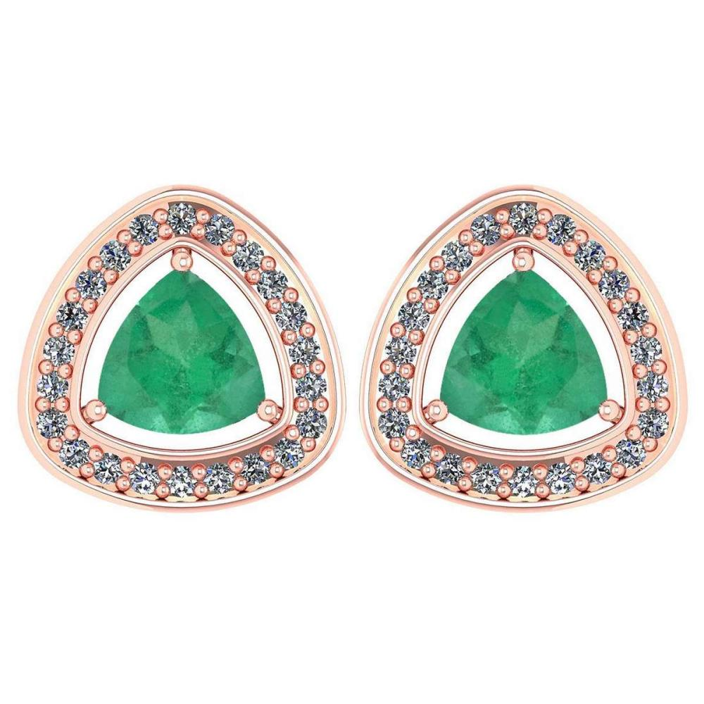 Certified 1.66 Ctw Emerald And Diamond 14k Rose Gold Halo Stud Earrings #PAPPS95110
