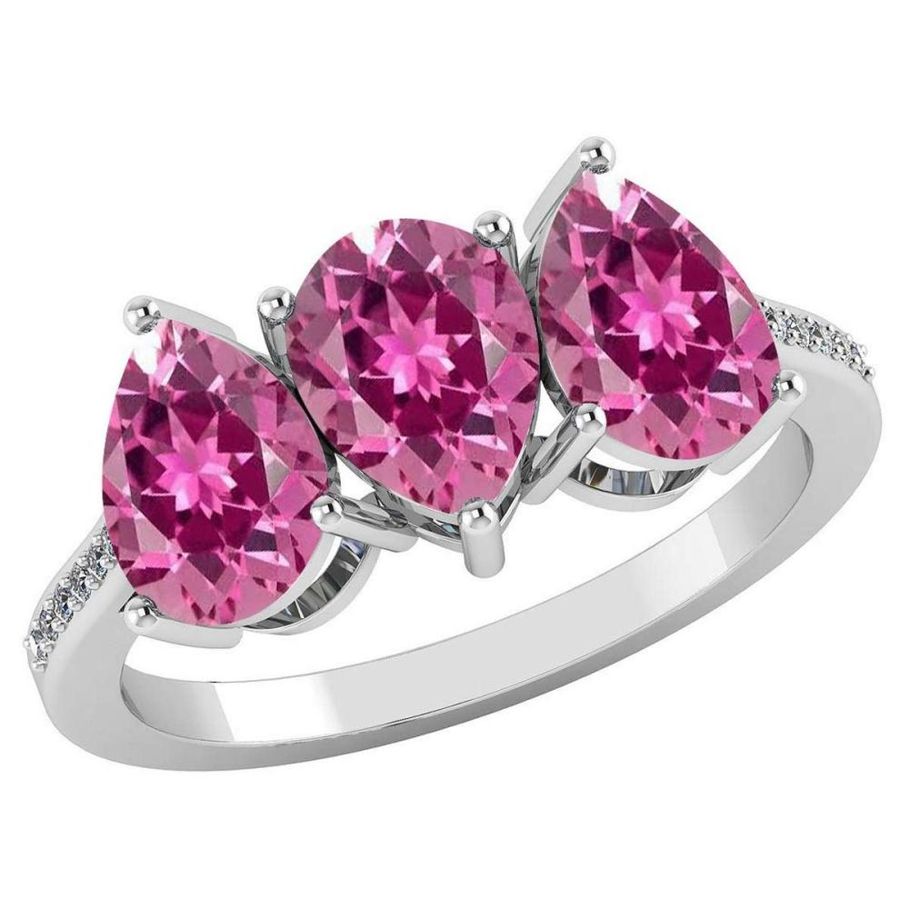 Certified 3.81 CTW Pink Tourmaline And Diamond 14k White Gold Halo Ring #PAPPS95063