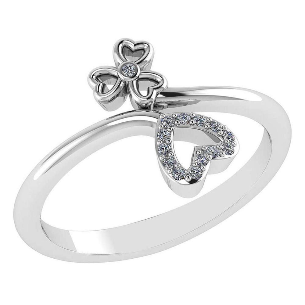 Certified .07 Ctw Diamond 14k White Gold Heart shape Ring #PAPPS94857