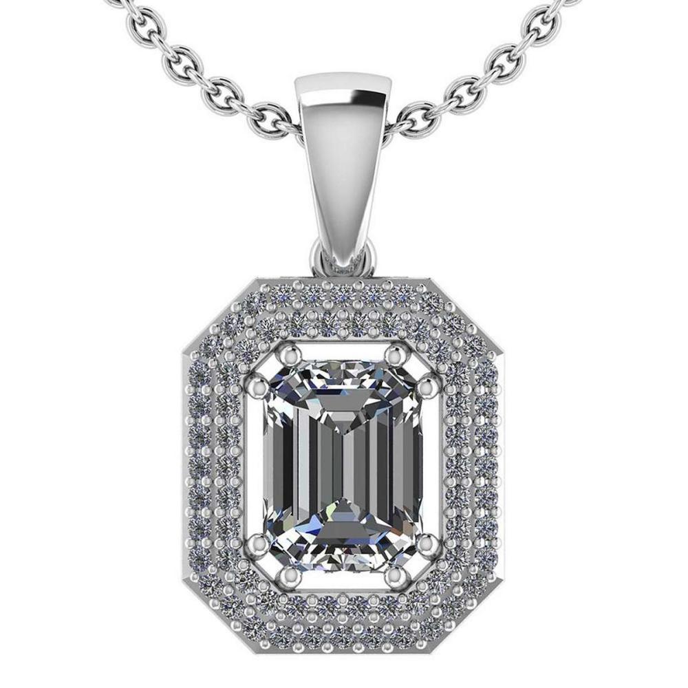 2.08 Ctw Diamond 14k White Gold Halo Necklaces VS/SI2 #PAPPS96015