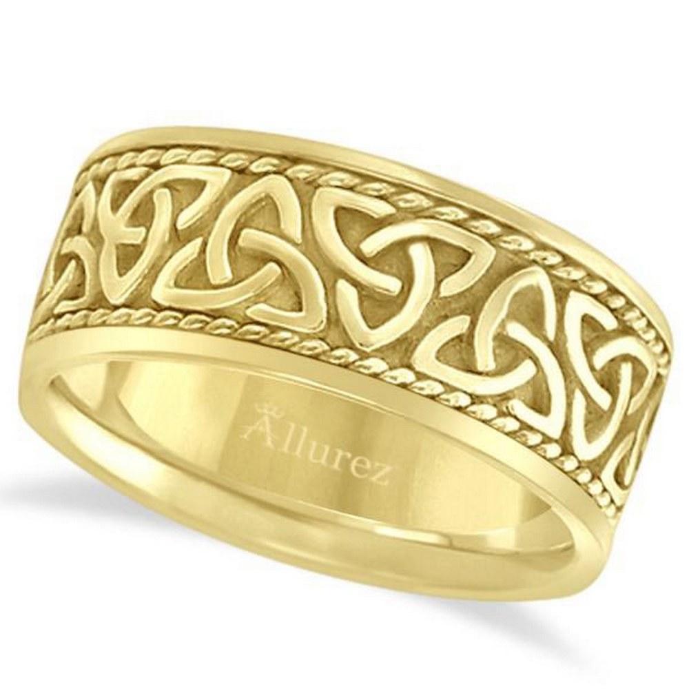 Mens Hand Made Celtic Irish Wedding Ring 14k Yellow Gol