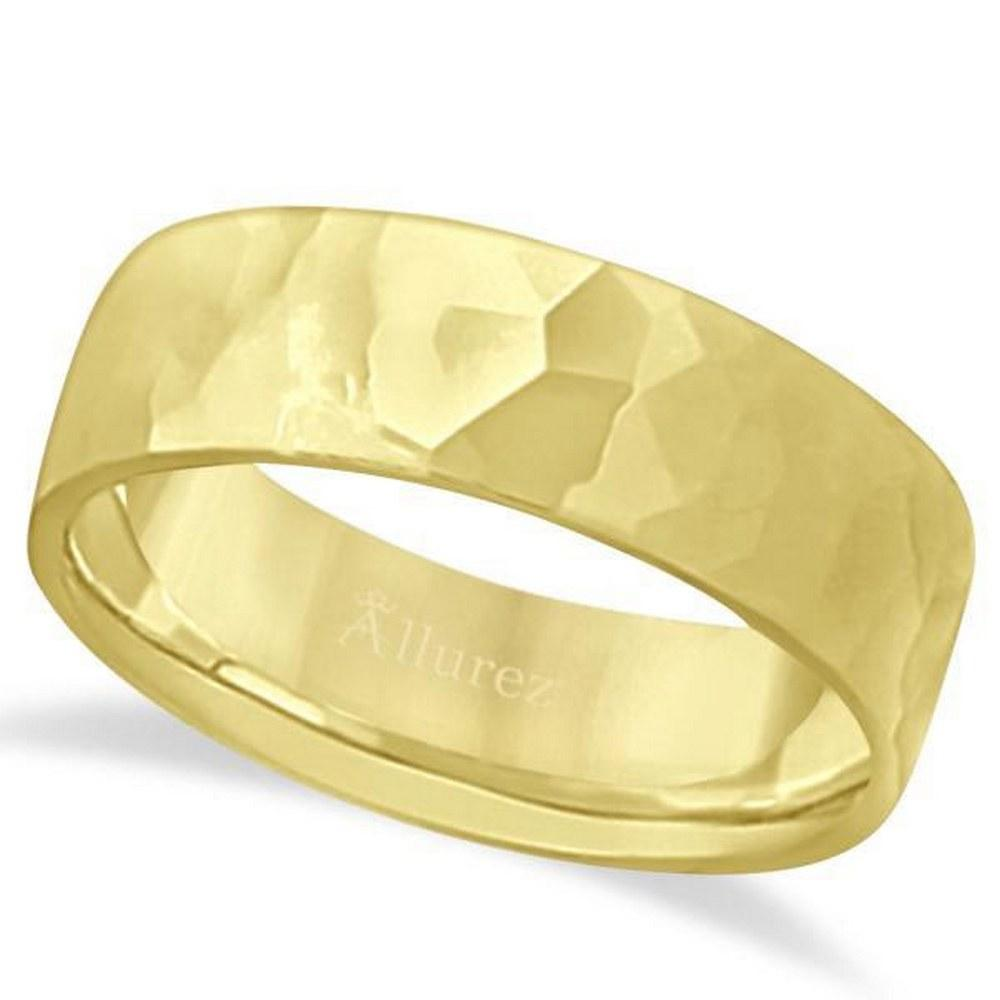 Mens Hammered Finished Carved Band Wedding Ring 18k Yel
