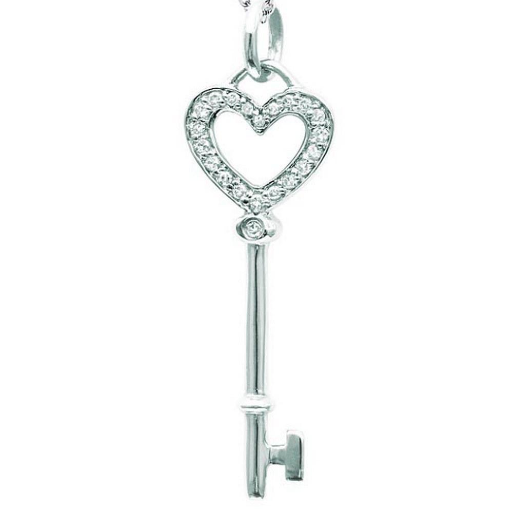 Diamond Heart Key Pendant Necklace in 14k White Gold 0.