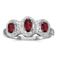 Certified 10k White Gold Oval Garnet And Diamond Three Stone Ring 0.64 CTW #51465v3