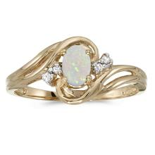 Certified 14k Yellow Gold Oval Opal And Diamond Ring 0.23 CTW #51057v3