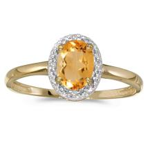 Certified 10k Yellow Gold Oval Citrine And Diamond Ring 0.66 CTW #51068v3