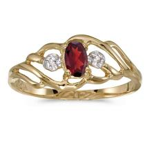 Certified 14k Yellow Gold Oval Garnet And Diamond Ring 0.24 CTW #51202v3