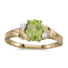 Certified 14k Yellow Gold Oval Peridot And Diamond Ring 0.71 CTW #50865v3