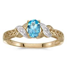 Certified 14k Yellow Gold Oval Blue Topaz And Diamond Ring 0.41 CTW #50862v3