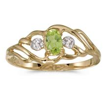 Certified 14k Yellow Gold Oval Peridot And Diamond Ring 0.2 CTW #51121v3