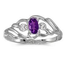 Certified 10k White Gold Oval Amethyst And Diamond Ring 0.19 CTW #51195v3