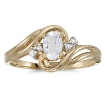 Certified 10k Yellow Gold Oval White Topaz And Diamond Ring 0.52 CTW #51200v3