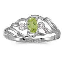 Certified 10k White Gold Oval Peridot And Diamond Ring 0.2 CTW #51157v3