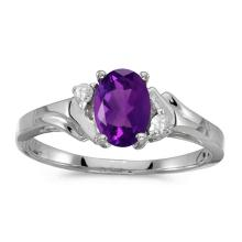 Certified 10k White Gold Oval Amethyst And Diamond Ring 0.49 CTW #50967v3