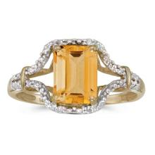 Certified 10k Yellow Gold Emerald-cut Citrine And Diamond Ring 1.36 CTW #51316v3