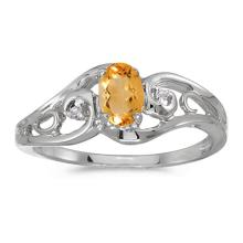 Certified 10k White Gold Oval Citrine And Diamond Ring 0.32 CTW #51273v3