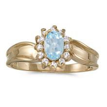 Certified 10k Yellow Gold Oval Aquamarine And Diamond Ring 0.43 CTW #51398v3