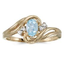 Certified 10k Yellow Gold Oval Aquamarine And Diamond Ring 0.33 CTW #51175v3