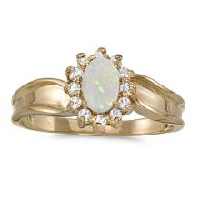 Certified 10k Yellow Gold Oval Opal And Diamond Ring 0.33 CTW #51374v3
