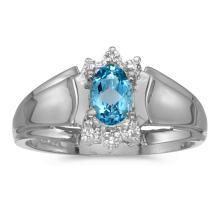 Certified 14k White Gold Oval Blue Topaz And Diamond Ring 0.41 CTW #25569v3