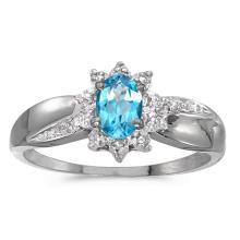 Certified 10k White Gold Oval Blue Topaz And Diamond Ring 0.41 CTW #50953v3