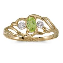 Certified 10k Yellow Gold Oval Peridot And Diamond Ring 0.2 CTW #25557v3