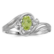Certified 10k White Gold Oval Peridot And Diamond Ring 0.71 CTW #51064v3