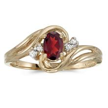 Certified 14k Yellow Gold Oval Garnet And Diamond Ring 0.51 CTW #51048v3
