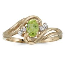 Certified 10k Yellow Gold Oval Peridot And Diamond Ring 0.44 CTW #51169v3