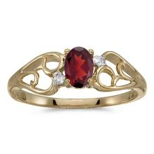 Certified 10k Yellow Gold Oval Garnet And Diamond Ring 0.49 CTW #51277v3