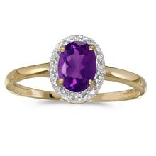Certified 14k Yellow Gold Oval Amethyst And Diamond Ring 0.47 CTW #51000v3