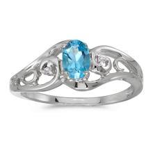 Certified 14k White Gold Oval Blue Topaz And Diamond Ring 0.41 CTW #51173v3