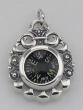 Victorian Style Scroll Design Compass Pendant Sterling Silver #98321v2