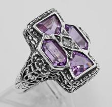 Amethyst Filigree Ring - Sterling Silver #PAPPS98111