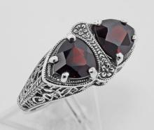 Unique Art Deco Style Trillion Cut Genuine Garnet Filigree Ring Sterling Silver #PAPPS98165