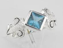 Stunning Genuine Princess Cut Blue Topaz Ring - Sterling Silver #PAPPS97947