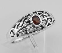 Antique Style Genuine Garnet Ring - Sterling Silver #PAPPS97930