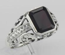 Large Emerald Cut Genuine Garnet Filigree Ring - Sterling Silver #PAPPS98133