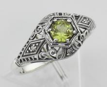 Art Deco Style Peridot Filigree Ring w/ 4 Diamonds - Sterling Silver #PAPPS97955