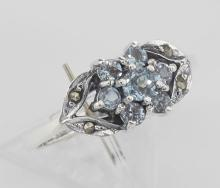 Beautiful Blue Topaz Marcasite Ring - Flower Design - Sterling Silver #PAPPS97948