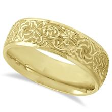 Hand-Engraved Flower Wedding Ring Wide Band 18k Yellow Gold (7mm) #PAPPS21238