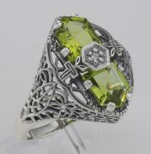 Art Deco Style 2 Stone Peridot and Diamond Filigree Ring Sterling Silver #PAPPS98532