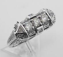 Art Deco Style Sterling Silver Filigree Ring w/ CZ #PAPPS98289