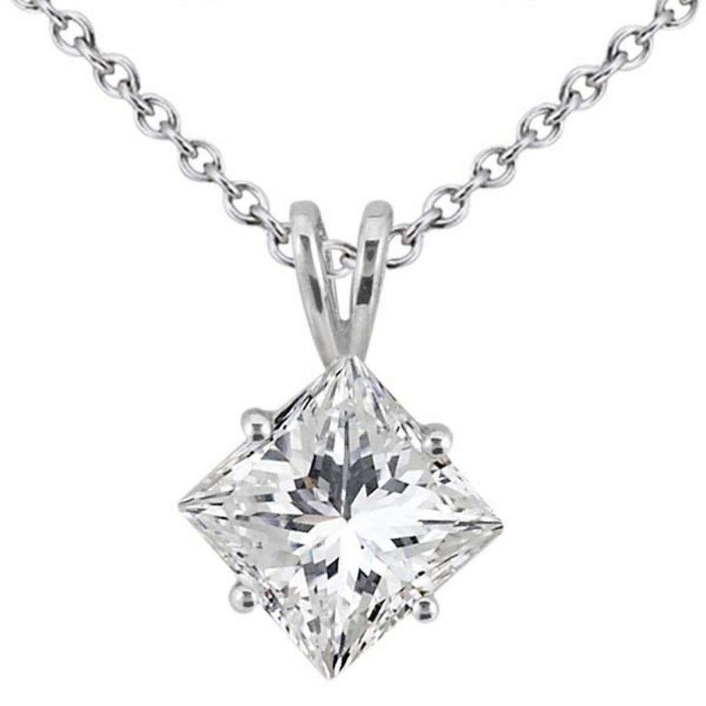 0 25ct Princess Cut Diamond Solitaire Pendant In 18k White