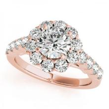 CERTIFIED 14KT ROSE GOLD 1.12 CT G-H/VS-SI1 DIAMOND HALO ENGAGEMENT RING #PAPPS86253