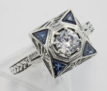 Art Deco Style CZ Filigree Ring w/ Genuine Blue Sapphires - Sterling Silver #PAPPS97433