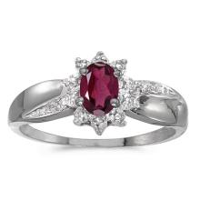 Certified 14k White Gold Oval Rhodolite Garnet And Diamond Ring 0.5 CTW #PAPPS50838