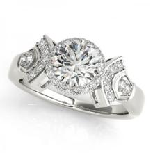 CERTIFIED PLATINUM .94 CT G-H/VS-SI1 DIAMOND HALO ENGAGEMENT RING #PAPPS86146