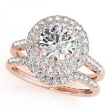 CERTIFIED 14KT ROSE GOLD 1.24 CT G-H/VS-SI1 DIAMOND HALO BRIDAL SET #PAPPS86245